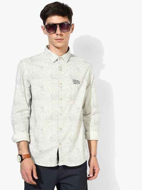 Cream Printed Slim Fit Casual Shirt