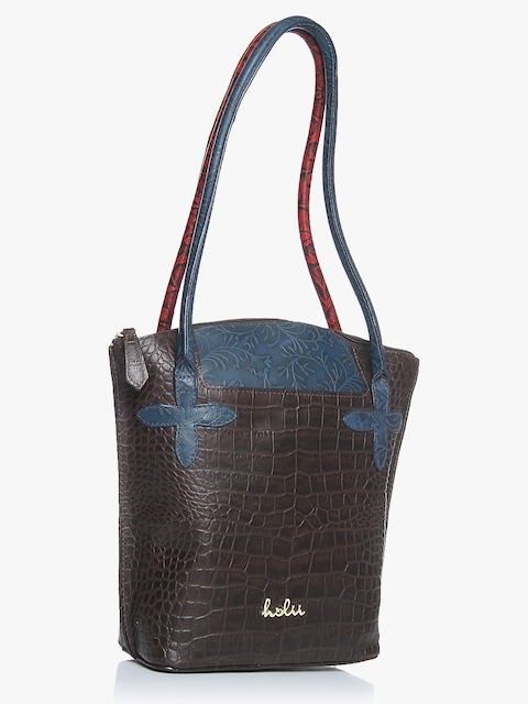 Nobel 03 Brown/Midnight Blue Leather Tote Bag