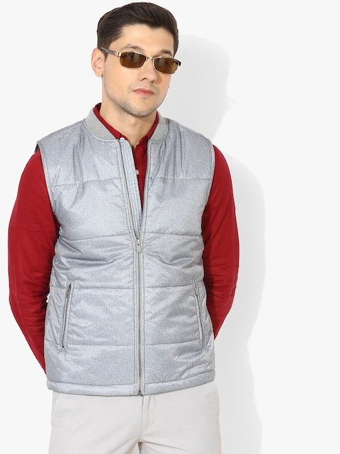 Grey Solid Quilted Jacket