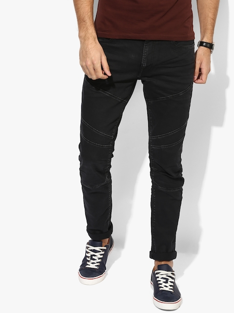 Black Solid Low Rise Slim Fit Jeans