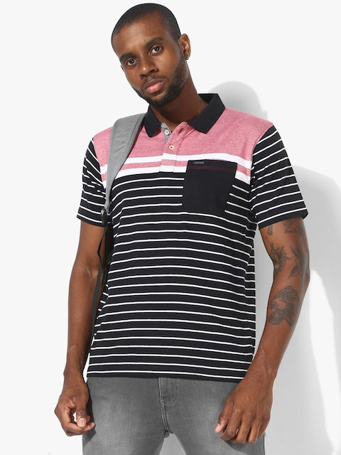 Black Striped Regular Fit Polo T-Shirt