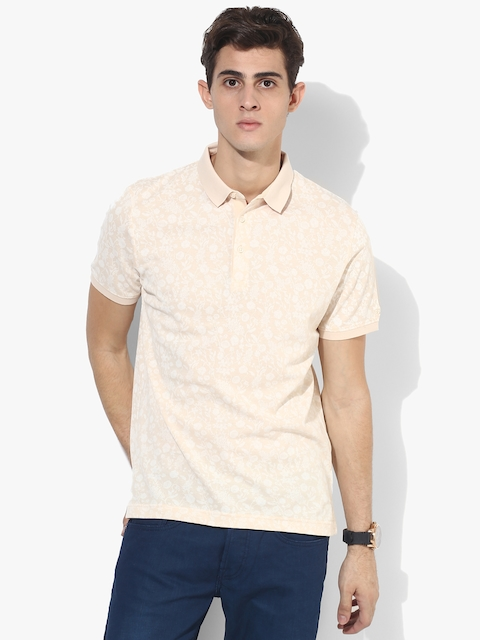 Beige Printed Slim Fit Polo T-Shirt