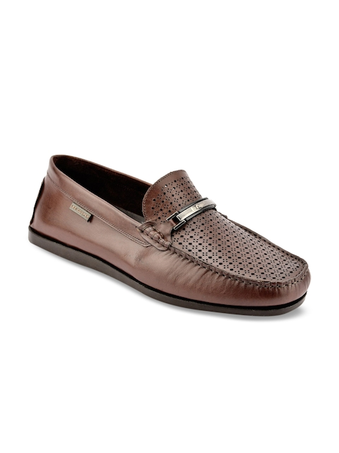 Lee Cooper Men Brown Perforated Leather Loafers