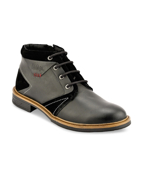 Lee Cooper Men Black Solid Leather Mid-Top Flat Boots