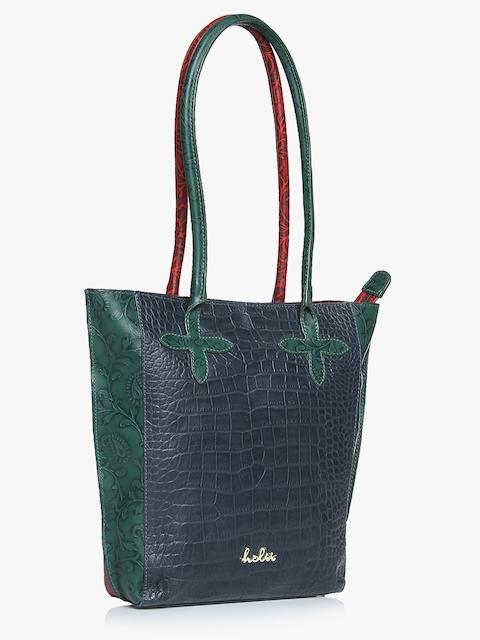 Nobel 02 Navy Blue/Red Leather Large  Tote Bag