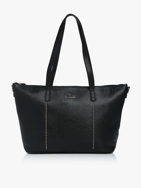 Black Synthetic Leather Handbag