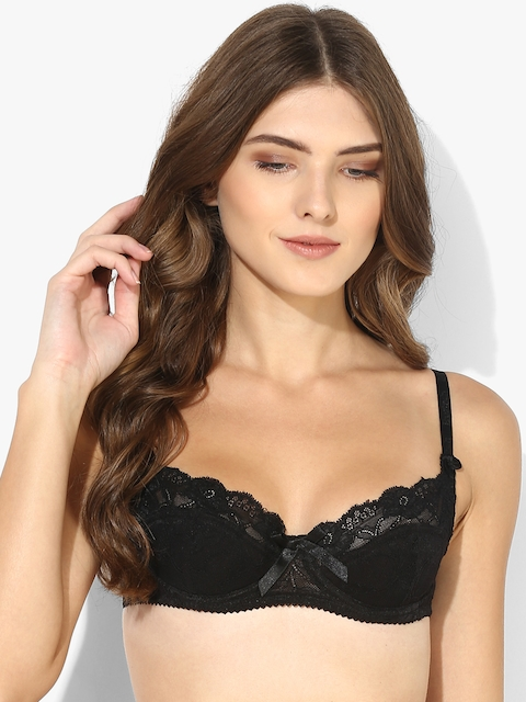 Black Printed Under Wired Padded Bra