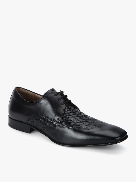 Black Derby Weaved Formal Shoes