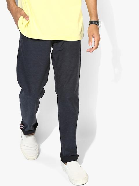 Navy Blue Self Design Regular Fit Chinos