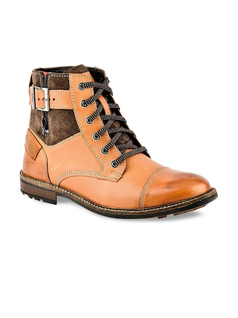 Lee Cooper Men Tan Colourblocked Leather Mid-Top Flat Boots