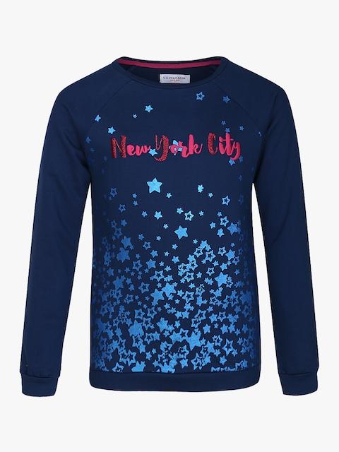 Blue Printed Sweatshirt