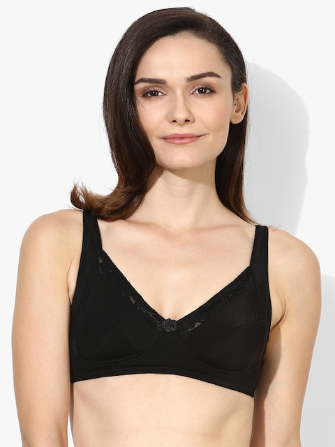 Black Self Design Non-Wired Non Padded Basic Bra