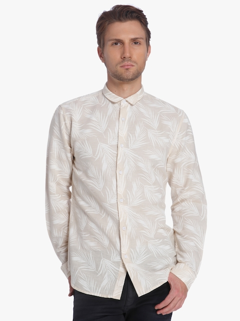 Beige Printed Slim Fit Casual Shirt