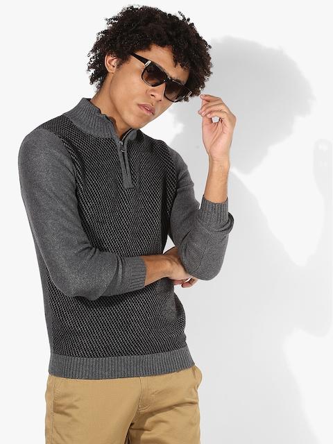 GAS Grey Textured Slim Fit High Neck Sweater