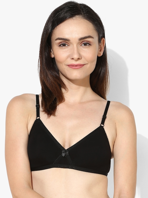 Black Solid Non-Wired Non Padded Bra