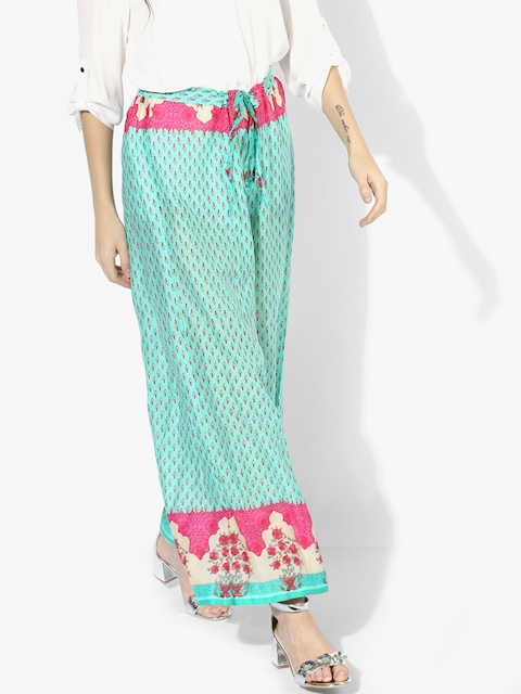 Turquoise Blue Printed Straight Palazzo