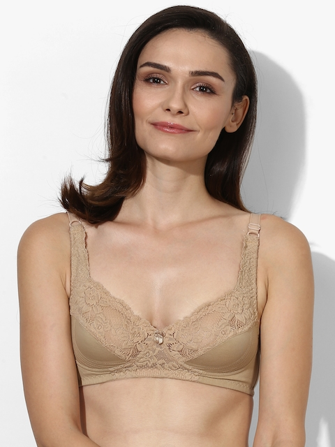 Beige Self Design Non-Wired Non Padded Bra