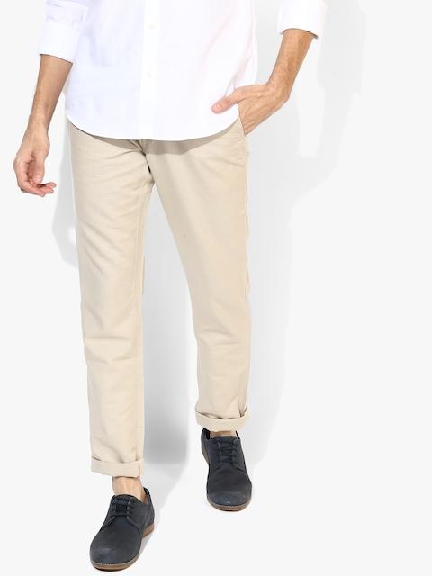 Beige Solid Slim Fit Chinos