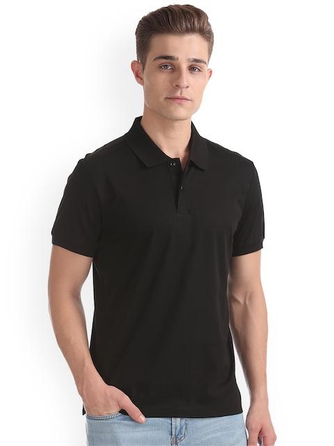 Arrow Men Black Solid Polo Collar T-shirt