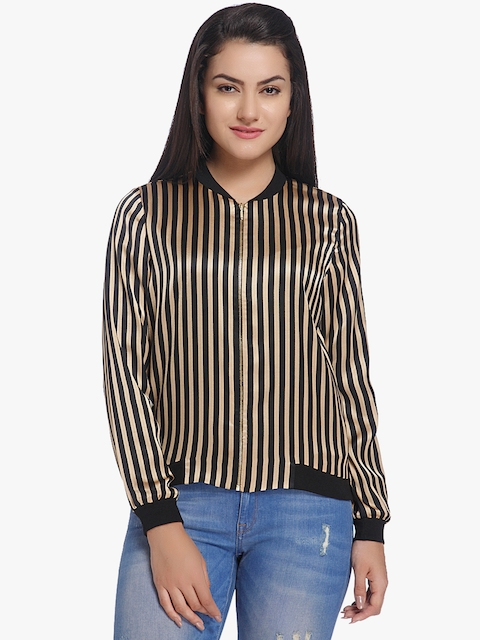 ONLY Women Black Striped Open Front Jacket