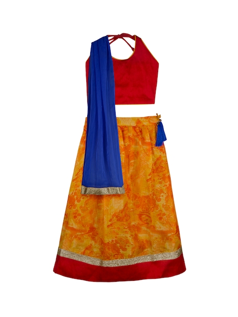 KID1 Girls Red & Orange Solid Made to Measure Lehenga & Blouse with Dupatta