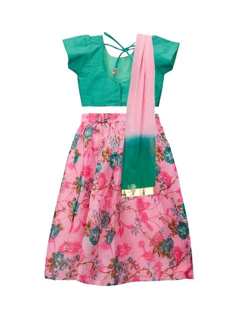 KID1 Girls Green & Pink Embellished Made to Measure Lehenga & Blouse with Dupatta