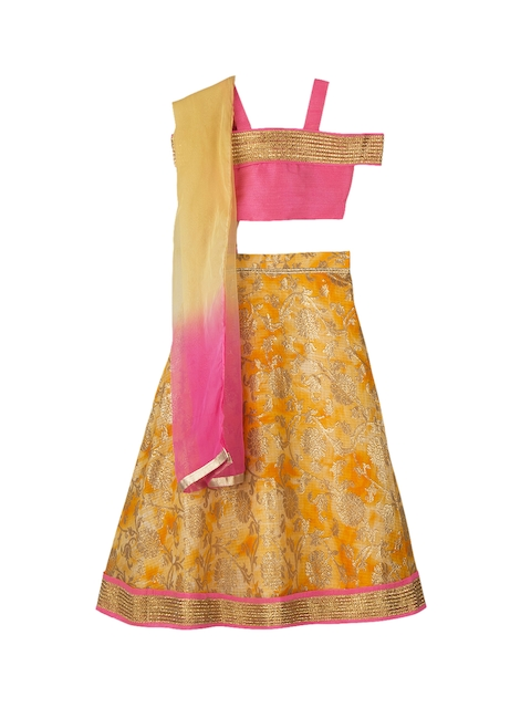 KID1 Girls Pink & Yellow Solid Made to Measure Lehenga & Blouse with Dupatta