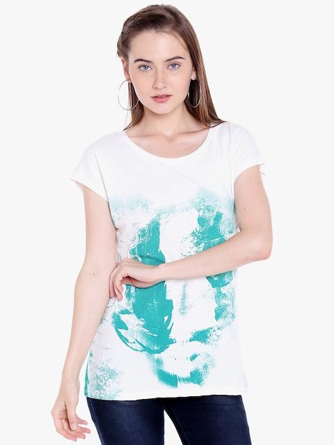 SPYKAR Off White & Green Printed Round Neck T-Shirt