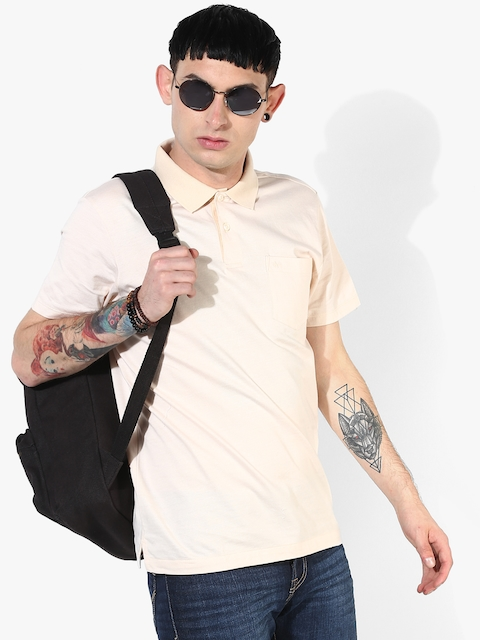 Beige Solid Regular Fit Polo T-Shirt