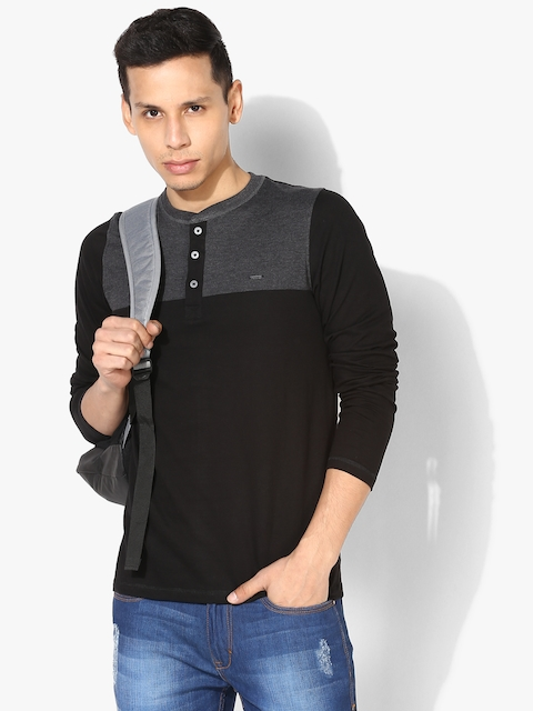 Proline Men Black & Charcoal Grey Colourblocked Henley Neck T-shirt
