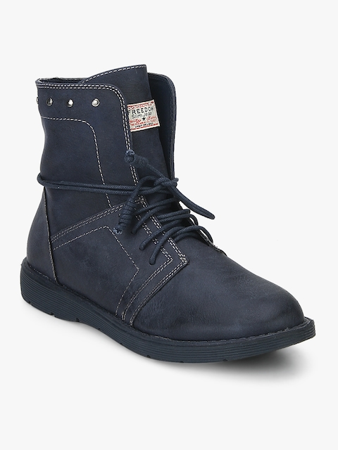 Navy Blue Ankle Length Boots