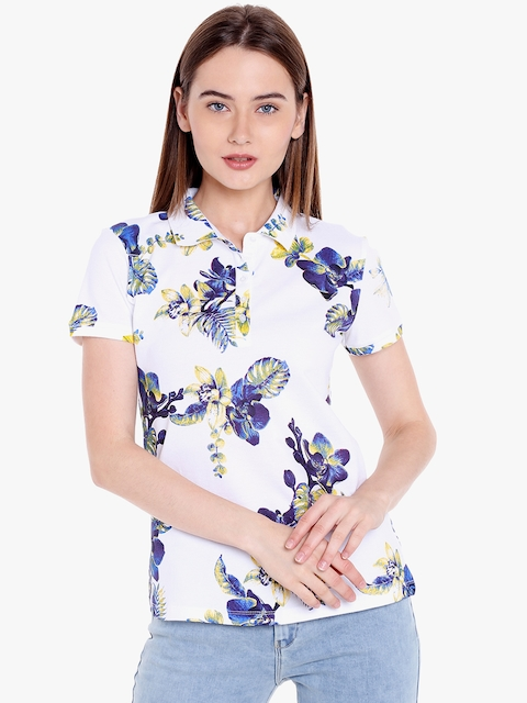 SPYKAR Women White & Blue Printed Polo Collar T-shirt