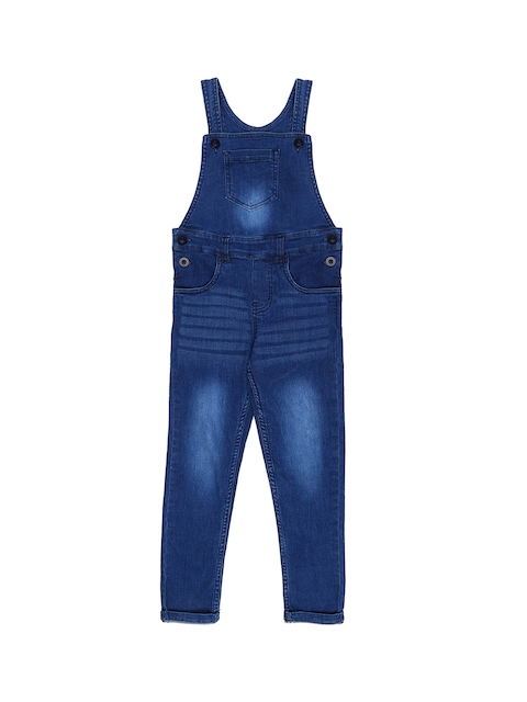 Chalk by Pantaloons Girls Blue Solid Dungrees
