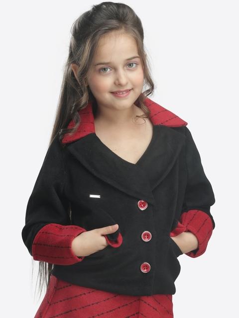 CUTECUMBER Girls Black & Red Overcoat