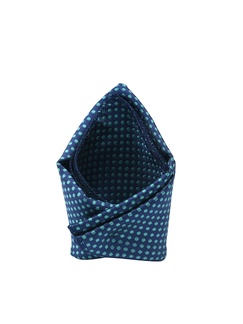 Tossido Men Navy Blue & Green Printed Pocket Square