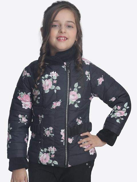CUTECUMBER Girls Black Printed Quilted Jacket