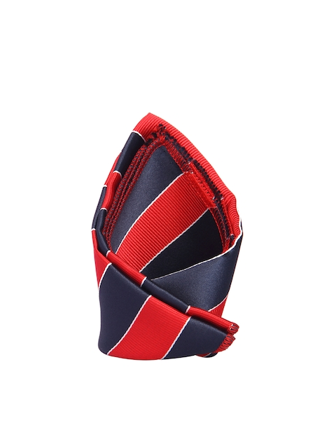 Tossido Men Red & Navy Blue Striped Pocket Square