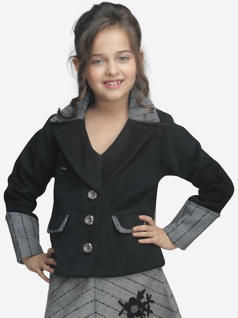 CUTECUMBER Girls Black & Grey Solid Overcoat