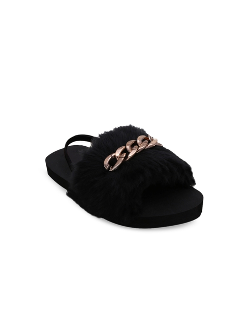 DChica Girls Black & Gold-Toned Solid Sliders