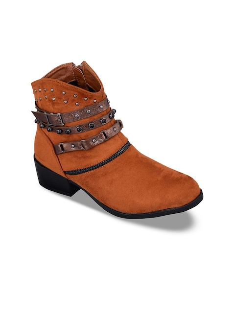 MSC Women Tan Brown Solid Suede Heeled Boots