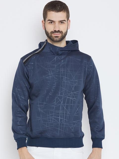 Duke Men Navy Blue Printed Hooded Sweatshirt