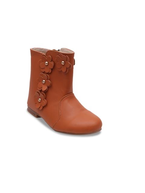 DChica Girls Tan Flat Boots