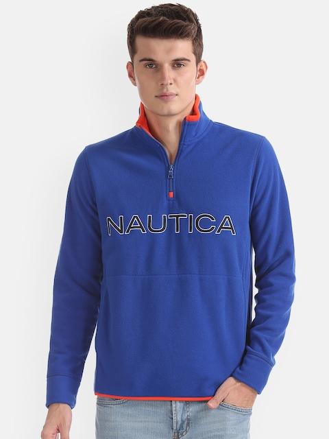 Nautica Men Blue Printed Sweatshirt