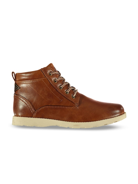Soviet Boys Brown Solid Synthetic Mid-Top Flat Boots