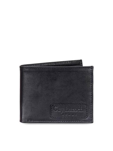 Justanned Men Black Solid Two Fold Wallet