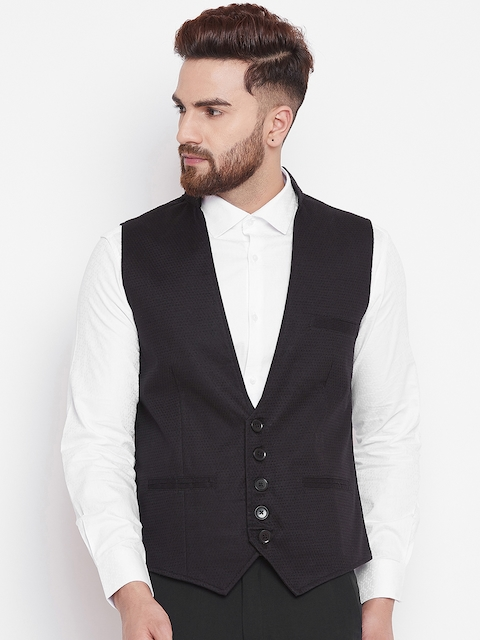 even Men Solid Black Nehru Jacket