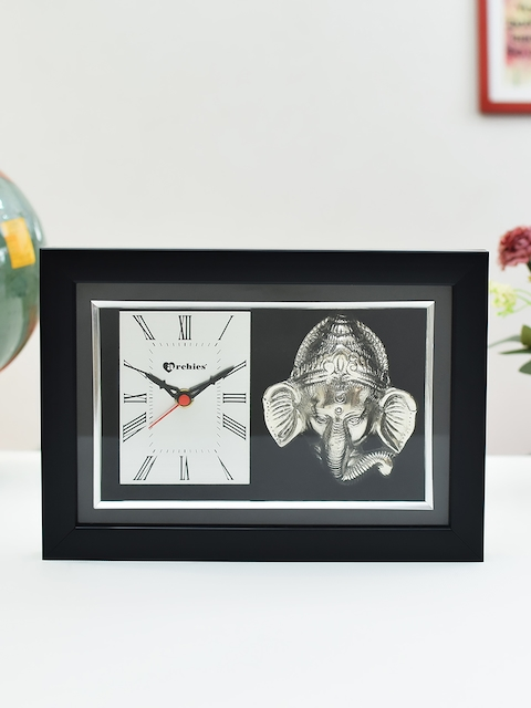 Archies Silver-Toned Rectangle 25.5 cm X 18 cm Printed Analogue Table Clock