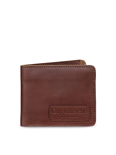 Justanned Men Brown Solid Two Fold Wallet