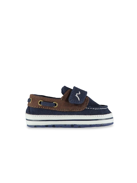 Kangol Kids Navy Blue & Brown Suede Boat Shoes