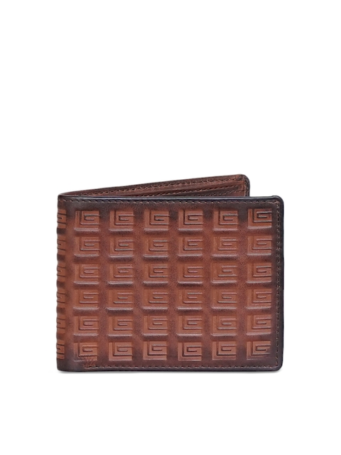 Justanned Men Brown Textured Two Fold Wallet